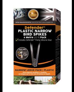 Defender® 6 meter fågelpiggar av plast inkl. lim